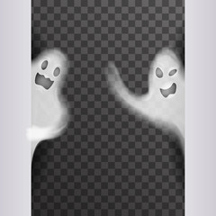 White scary ghost look out corner halloween night party transparent background vector illustration