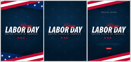 Set of Labor Day sale promotions, advertisings, posters, banners, templates with American flag. American labor day wallpapers.
