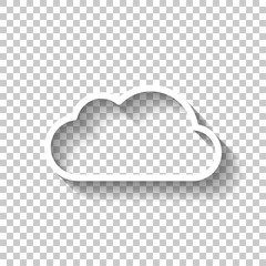 Simple cloud. Linear symbol with thin outline. White icon with s