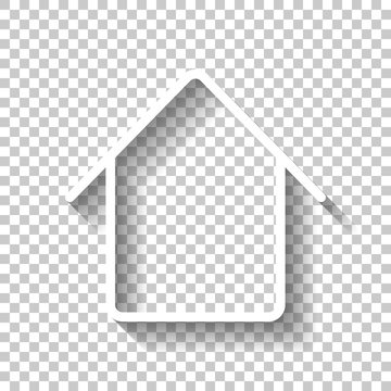 Simple house icon. Linear symbol, thin outline. White icon with