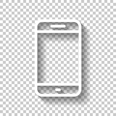 Simple mobile phone icon. Linear symbol, thin outline. White ico