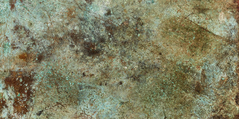 Grunge metal brown and green empty copy space background texture.
