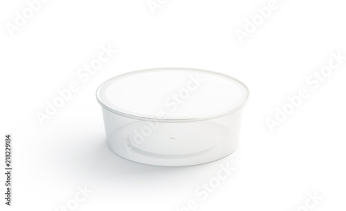 Blank White Round Disposable Container Mockup Isolated Rendering Empty Bento Box Mock Up Clear Lunch Template Fast Food Take Away Tray
