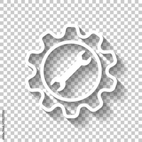 """""""wrench in gear. White icon with shadow on transparent ..."""