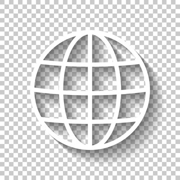 Simple globe icon. Linear, thin outline. White icon with shadow