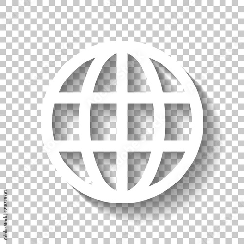 Simple globe icon  Linear  White icon with shadow on