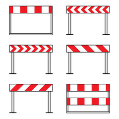 Road barriers, under construction icon set, isolated on white background, vector illustration.