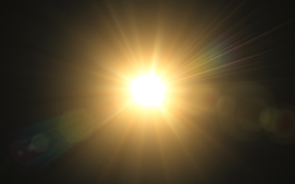 Abstract image of lighting flare.Abstract sun burst with digital lens flare background.Gold nature flare effect