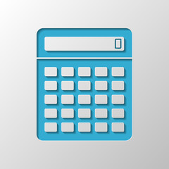 Calculator icon. Paper design. Cutted symbol with shadow