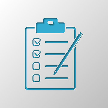 Checklist with pen icon. Paper design. Cutted symbol with shadow