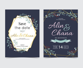Geometry gold wedding invitation card with flower,leaf,ribbon,wreath and frame on dark blue background