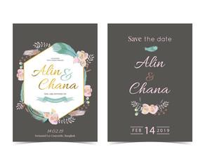 Geometry gold wedding invitation card with flower,rose,leaf,ribbon,wreath and frame on dark grey background