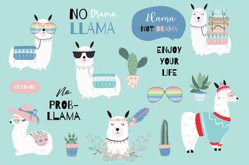 Blue hand drawn cute card with llama, heart glasses and hat in winter christmas.include wording No drama llama,Enjoy your life,no problem llama