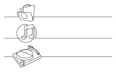 banner design - continuous line drawing of business icons: headphones, folder with music files, dj turntable