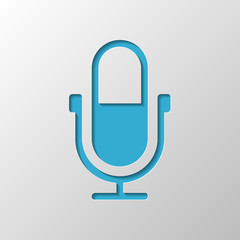 Simple microphone icon. Paper design. Cutted symbol with shadow