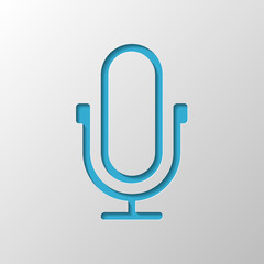 Simple microphone icon. Linear, thin outline. Paper design. Cutt