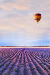 travel destination, beautiful dream inspirational landscape with hot air balloon flying above...