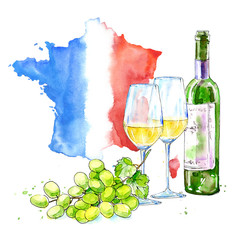 White wine, glasses, grapes and map of France.Picture of a alcoholic drink.Beverage.Watercolor hand drawn illustration. White background.