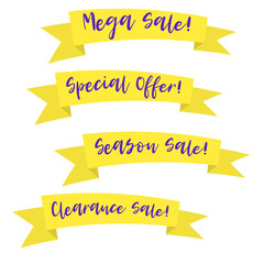 Modern promotion ribbon banner with lettering. Discount scroll, price tag, sticker, badge, poster with lettering text.