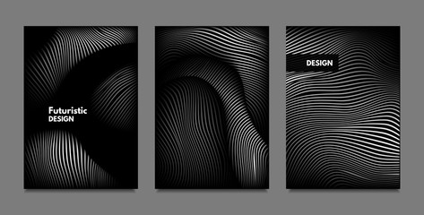 Distortion of Lines. Abstract Backgrounds with Vibrant Gradient and Wavy Stripes. Monochrome Cover Templates Set with Volume and Metallic Effect. Distorted Shapes for Business Presentation, Brochure.