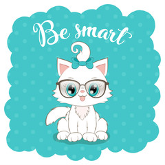 Cute cartoon white kitten in glasses with hand drawn lettering. Vector Illustration
