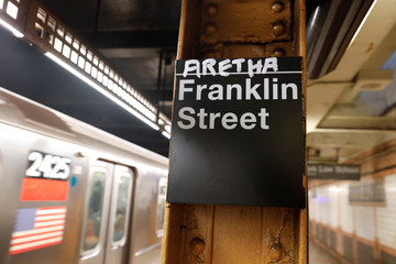 The name of Aretha is posted above the Franklin Street subway station in memory of singer Aretha Franklin in Manhattan, New York