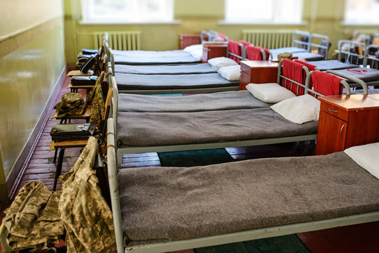 many beds in the military barracks of ukraine