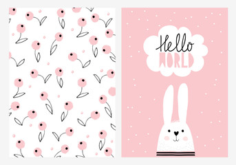 Hello World, White Cute Rabbit. Hand Drawn Baby Shower Vector Illustration Set. White Speech Bubble, Pink Background. Pink Blueberries, White Background. Hand Written Letters.