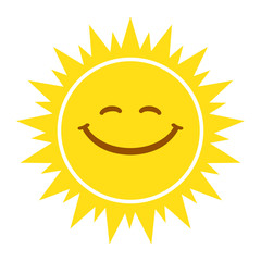 Sun smile sign, icon, tag. Vector illustration