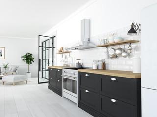 modern nordic kitchen in loft apartment. 3D rendering Fotoväggar