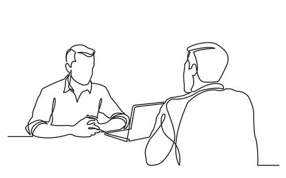 continuous line drawing of job interview between two men