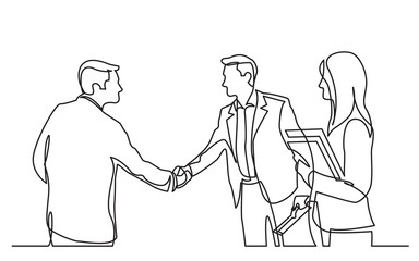 continuous line drawing of business meeting with handshake