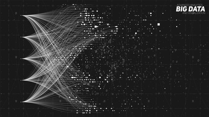 Fotoväggar - Vector abstract colorful big data information sorting visualization. Social network, financial analysis of complex databases. Visual information complexity clarification. Intricate data graphic