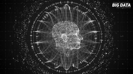 Fotoväggar - Human Big data visualization. Futuristic Artificial intelligence concept. Cyber mind aesthetic design. Machine learning. Complex data threads in form of head side view and binary data.