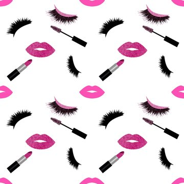 Lashes, mascara, lipstick and lips with glitter seamless vector pattern