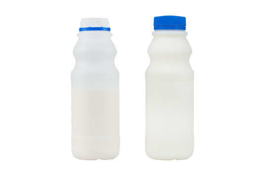 bottle of milk isolated on white background - clipping paths