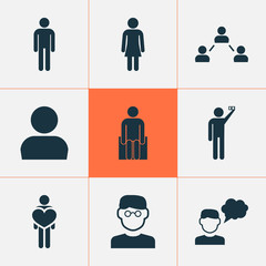 Human icons set with thinker, male, smart man and other human  elements. Isolated vector illustration human icons.