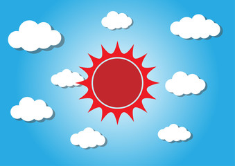 sun and cloud, cuted paper design. vector illustration.