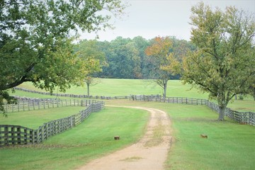 The pathway along with the wooden fence, green grass field and the nice trees made beautiful view, Autumn in VA USA.