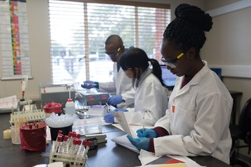 Laboratory technicians working in blood bank