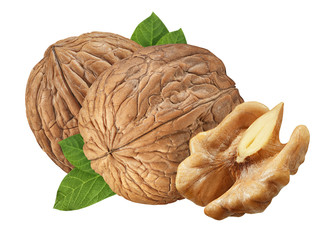 Three Walnut isolated closeup  on white background with clipping path. Nut macro. Walnuts with leaf as package design element collection. Full depth of field.