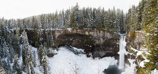 Panorama of forest around Brandywine Falls in winter.