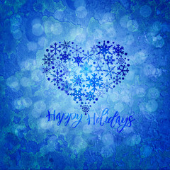 Christmas Happy Holidays Snowflakes Heart Shape Illustration