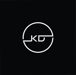 Initial letter KD DK minimalist art monogram circle shape logo, white color on black background.