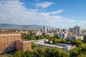 Aerial view of Mendoza City and Andes Mountains - Mendoza, Argentina