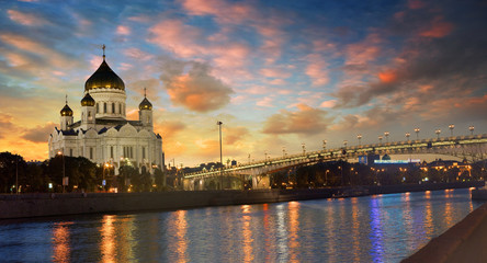 Beautiful View of the Cathedral of Christ the Saviour in Moscow at evening