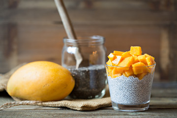 Chea seed pudding on coconut milk with mango