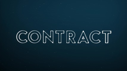 Abstract glowing word CONTRACT on dark blue digital background