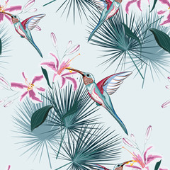 Beautiful seamless vector floral summer pattern background with hummingbird, tropical pink lilies flowers and palm leaves. Perfect for wallpapers, web page backgrounds, surface textures, textile.