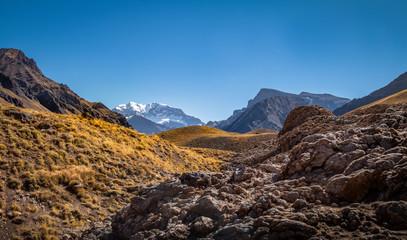 Aconcagua south wall view from Aconcagua Provincial Park in Cordillera de Los Andes - Mendoza Province, Argentina